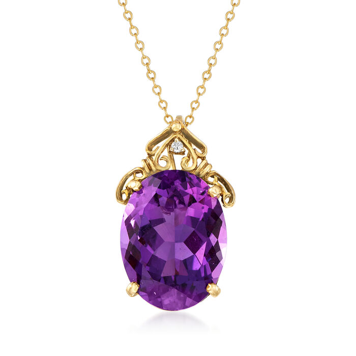 """C. 1960 Vintage 18.00 Carat Amethyst Pendant Necklace with Diamond Accent in 14kt Yellow Gold. 18"""", , default"""