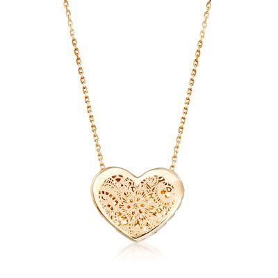 Italian 18kt Yellow Gold Floral Openwork Heart Necklace, , default