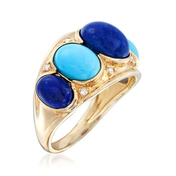 Blue Lapis and Sleeping Beauty Turquoise Ring With Diamond Accents in 14kt Yellow Gold, , default