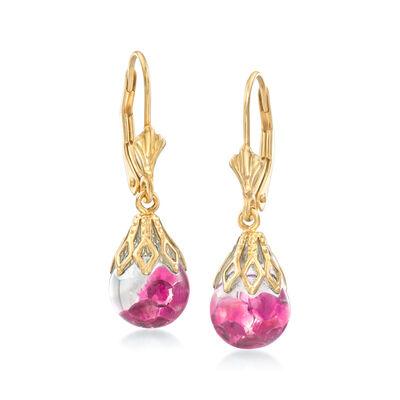 1.20 ct. t.w. Floating Ruby Drop Earrings in 14kt Yellow Gold, , default