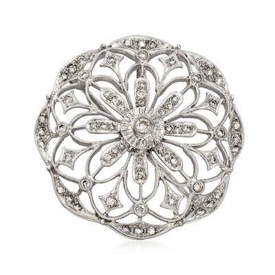C. 1980 Vintage .85 ct. t.w. Diamond Flower Pin/Pendant in 18kt White Gold, , default