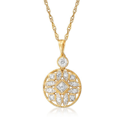 .25 ct. t.w. Diamond Openwork Circle Pendant Necklace in 18kt Gold Over Sterling