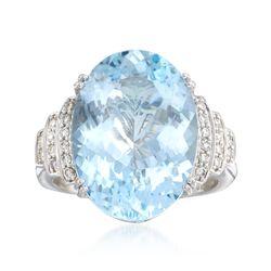 11.00 Carat Aquamarine and .24 ct. t.w. Diamond Ring in 14kt White Gold, , default