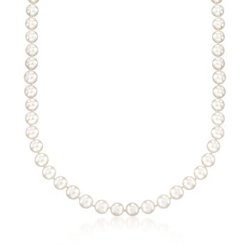 6.5-7mm Cultured Akoya Pearl Necklace With 18kt White Gold, , default