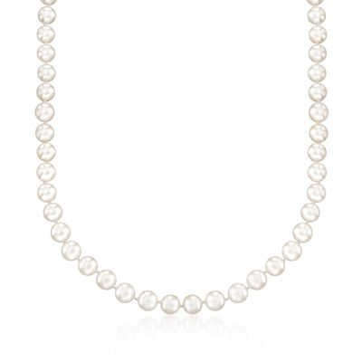 7-7.5mm Cultured Akoya Pearl Necklace with 18kt White Gold, , default