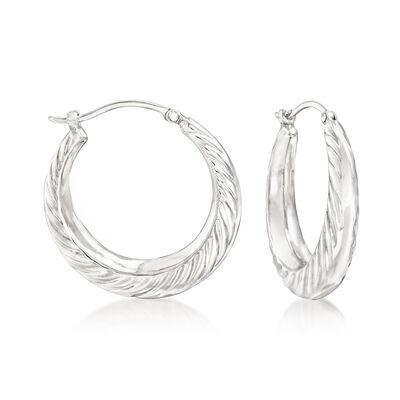 Sterling Silver Graduated Swirl Hoop Earrings , , default