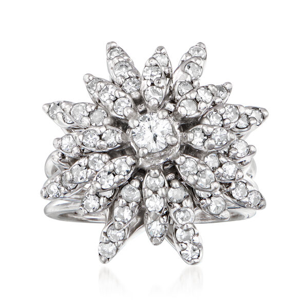 Estate Jewelry Featuring C. 1970 Vintage 1.50 ct. t.w. Diamond Cluster Ring in 14kt White Gold. Size 6.25 935653