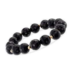10-11mm Black Onyx Bracelet With 14kt Yellow Gold, , default