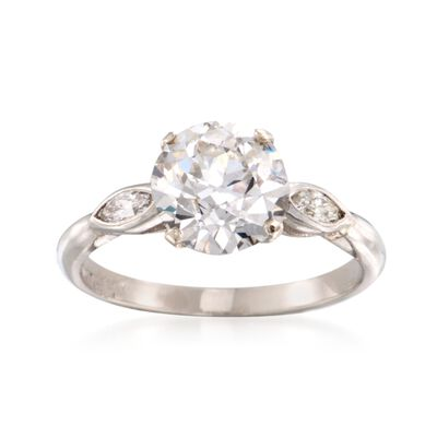 C. 1960 Vintage 2.83 ct. t.w. Diamond Three-Stone Ring in Platinum, , default