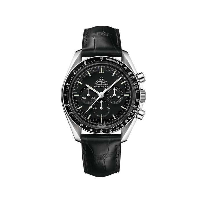Omega Speedmaster Moonwatch Men's 42mm Stainless Steel Watch with Black Dial and Black Leather Strap , , default
