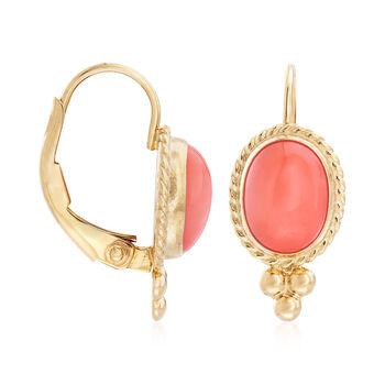 Bezel-Set Coral Drop Earrings in 14kt Yellow Gold , , default