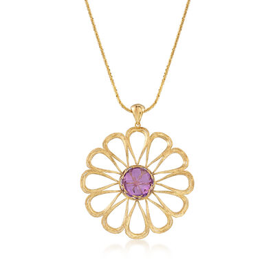 Italian 8.50 Carat Amethyst and 18kt Gold Over Sterling Open-Space Flower Pendant Necklace, , default