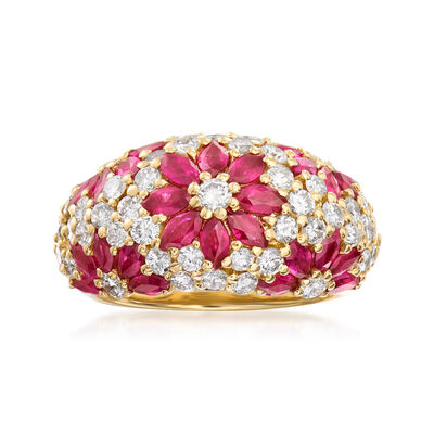 C. 1980 Vintage 3.00 ct. t.w. Diamond and 1.68 ct. t.w. Ruby Flower Ring in 18kt Yellow Gold