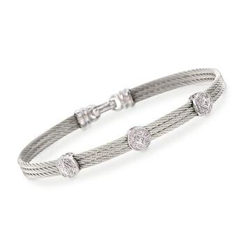 """ALOR """"Classique"""" .14 ct. t.w. Diamond Triple-Station Gray Cable Bracelet With 18kt White Gold. 7"""", , default"""