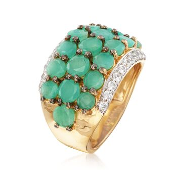 4.60 ct. t.w. Emerald and .70 ct. t.w. White Zircon Ring in 18kt Gold Over Sterling , , default