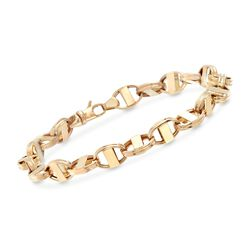 14kt Yellow Gold Oval Bar-Link Bracelet, , default