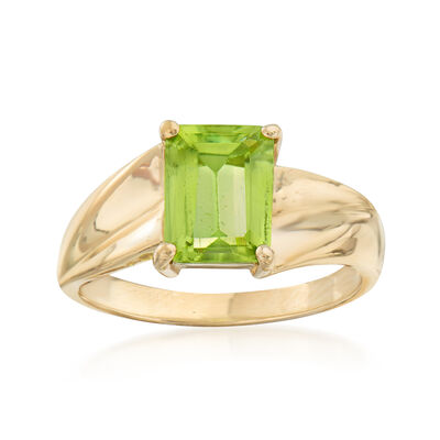 C. 1980 Vintage 1.29 Carat Peridot Ring in 10kt Yellow Gold, , default