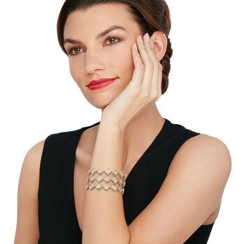 "C. 2000 Vintage 7.00 ct. t.w. Pave Diamond Wide Bracelet in 14kt Two-Tone Gold. 7.25"""