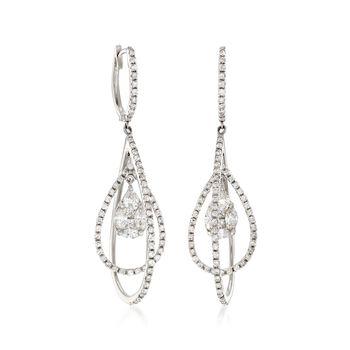 1.33 ct. t.w. Diamond Cluster Open-Space Teardrop Earrings in 14kt White Gold