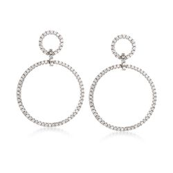 .75 ct. t.w. CZ Double Open Circle Drop Earrings in Sterling Silver, , default