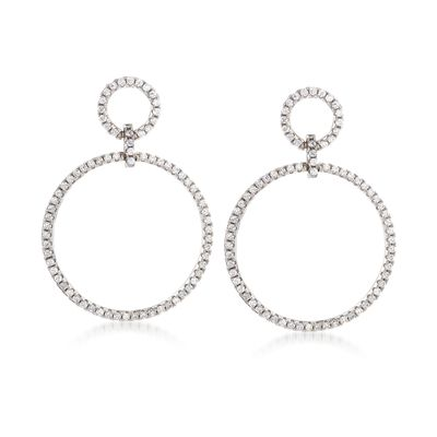 .75 ct. t.w. CZ Double Open Circle Drop Earrings in Sterling Silver, , default