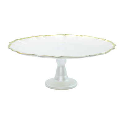 "Vietri ""Baroque"" White Glass Cake Stand, , default"
