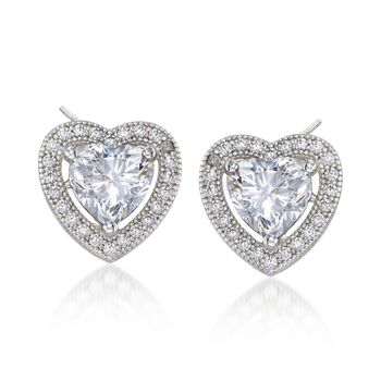 1.75 ct. t.w. CZ Heart Halo Earrings in Sterling Silver, , default