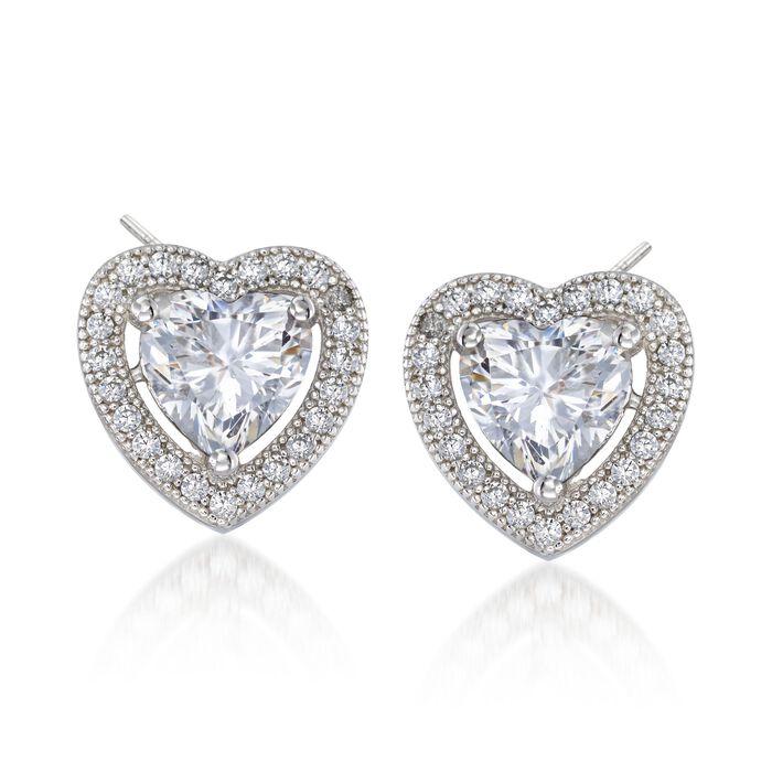 1.75 ct. t.w. CZ Heart Halo Earrings in Sterling Silver, , default