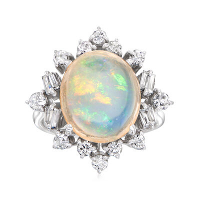 C. 1980 Vintage Opal and 1.04 ct. t.w. Diamond Ring in 14kt White Gold
