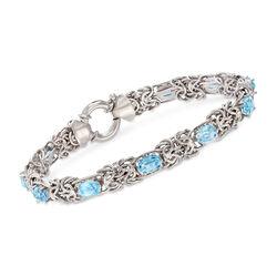 5.50 ct. t.w. Blue Topaz Byzantine Bracelet in Sterling Silver, , default