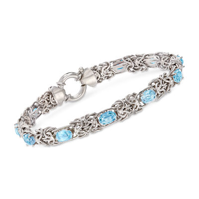 5.50 ct. t.w. Blue Topaz Byzantine Bracelet in Sterling Silver, , default