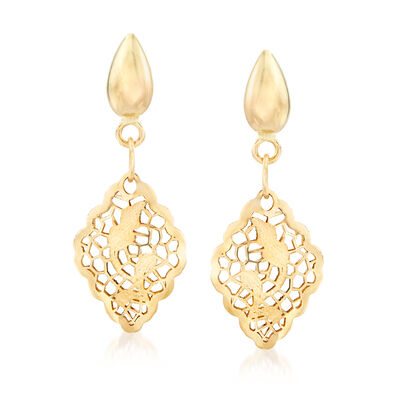 Italian 14kt Yellow Gold Filigree Drop Earrings, , default