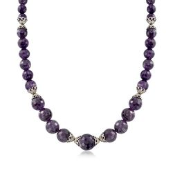Graduated Amethyst Bead Necklace With Sterling Silver Lacy Cap Stations, , default