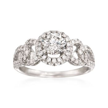 1.33 ct. t.w. Certified Diamond Halo Engagement Ring in 18kt White Gold, , default