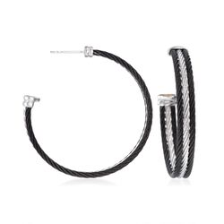 "ALOR ""Noir"" Black and Gray Stainless Steel Cable Hoop Earrings With 18kt White Gold. 1 5/8"", , default"