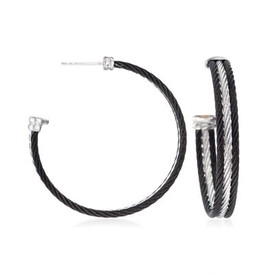 "ALOR ""Noir"" Black and Gray Stainless Steel Cable Hoop Earrings with 18kt White Gold, , default"