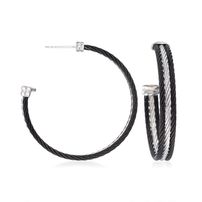 """ALOR """"Noir"""" Black and Gray Stainless Steel Cable Hoop Earrings with 18kt White Gold. 1 5/8"""", , default"""