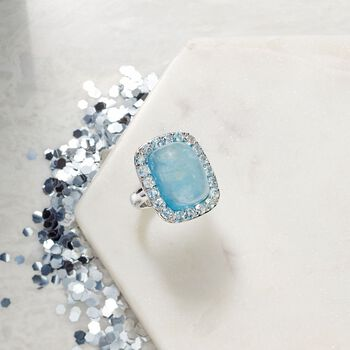 Milky Aquamarine and 2.60 ct. t.w. Blue Topaz Ring in Sterling Silver, , default
