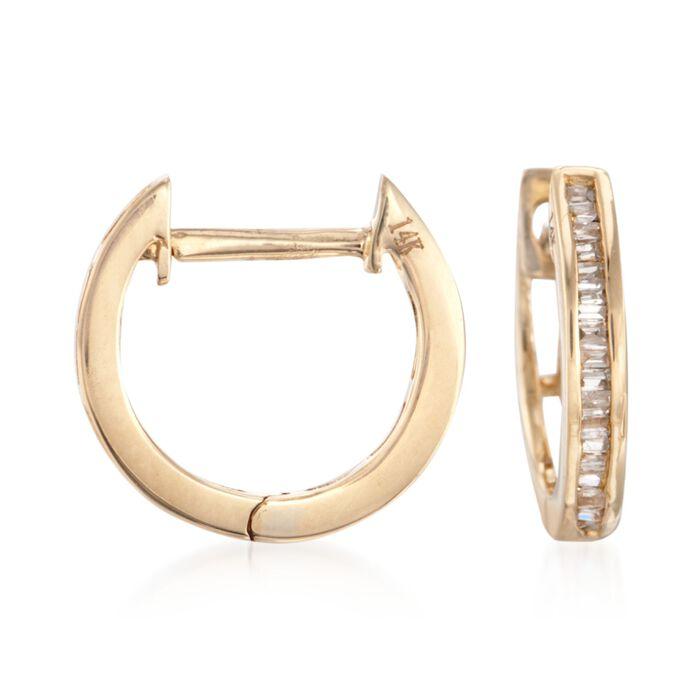 ".25 ct. t.w. Baguette Diamond Huggie Hoop Earrings in 14kt Yellow Gold. 3/5"", , default"