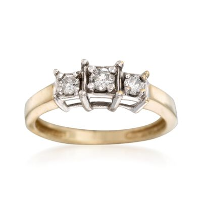 C. 1980 Vintage .25 ct. t.w. Diamond Three-Stone Engagement Ring in 14kt Yellow Gold, , default