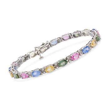 """C. 1990 Vintage 9.45 ct. t.w. Multicolored Sapphire and .35 ct. t.w. Diamond Bracelet in 14kt White Gold. 7"""", , default"""