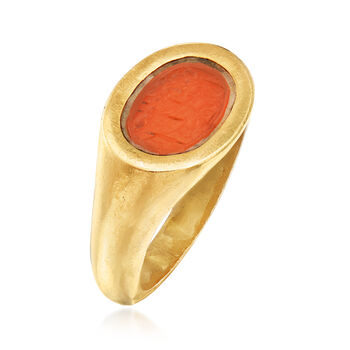 C. 1960 Vintage Carnelian Intaglio Ring in 22kt Yellow Gold. Size 8.5