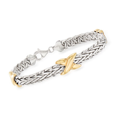 Two-Tone Sterling Silver Wheat-Link X Station Bracelet