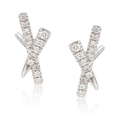 "Gabriel Designs .15 ct. t.w. Diamond Tapered ""X"" Earrings in 14kt White Gold, , default"