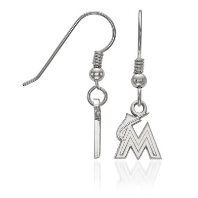 Sterling Silver MLB Miami Marlins Extra Small Dangle Earrings, , default