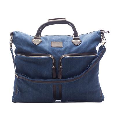 "Brouk & Co. ""Excursion"" Blue Waxed Canvas Overnight Messenger Bag, , default"