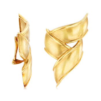 C. 1970 Vintage Tiffany Jewelry 18kt Yellow Gold Ribbon Clip-On Earrings