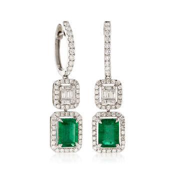 2.70 ct. t.w. Emerald and 1.20 ct. t.w. Diamond Drop Earrings , , default