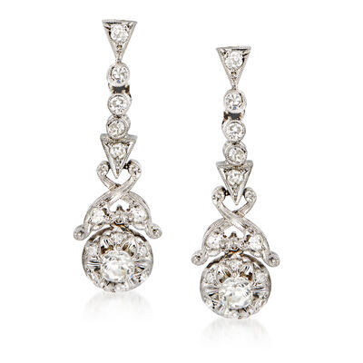 C. 1950 Vintage .85 ct. t.w. Diamond Drop Earrings in Platinum, , default