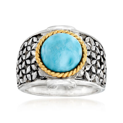 Larimar Ring in Sterling Silver and 18kt Gold Over Sterling
